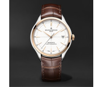 Clifton Baumatic Automatic Chronometer 40mm 18-Karat Rose Gold, Stainless Steel and Alligator Watch, Ref. No. M0A10519
