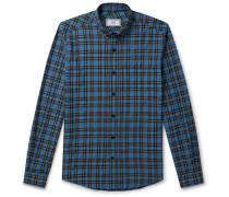 Button-Down Collar Checked Flannel Shirt