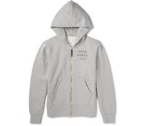 Stencil-print Cotton-blend Jersey Zip-up Hoodie