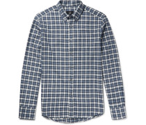Button-down Collar Checked Brushed-cotton Flannel Shirt