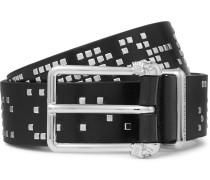 Black 3cm Studded Leather Belt
