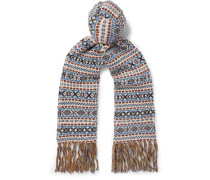 Fringed Fair Isle Wool, Mohair And Silk-blend Scarf