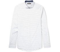 Slim-fit Cutaway-collar Printed Cotton Shirt