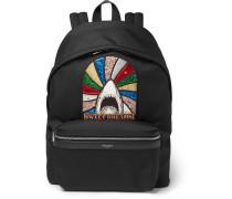 City Appliquéd Canvas Backpack