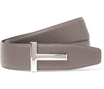 4cm Grey And Black Reversible Grained-leather Belt