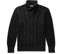 Shawl-Collar Cable-Knit Merino Wool and Cashmere-Blend Sweater