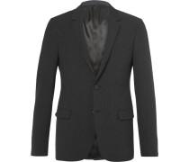 Grey Satin-trimmed Stretch Wool And Silk-blend Seersucker Blazer