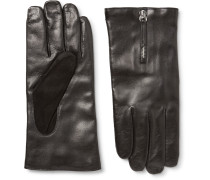 Mozart Cashmere-lined Leather And Suede Gloves