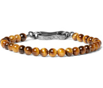 Tiger's Eye Bead And Oxidised Silver Bracelet