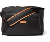 Leather-trimmed Shell Messenger Bag