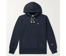 Logo-Embroidered Mélange Fleece-Back Cotton-Blend Jersey Hoodie