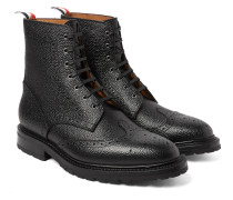 Pebble-grain Leather Wingtip Brogue Boots