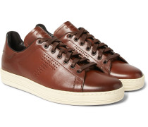 Warwick Perforated Burnished-leather Sneakers