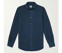 Fellini Slim-Fit Cutaway-Collar Linen Shirt