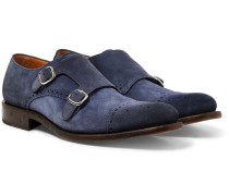 Bristol Washed-suede Monk-strap Brogues