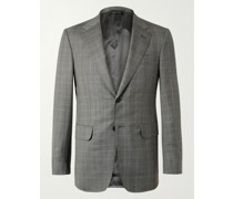 Kensington Slim-Fit Unstructured Prince of Wales Checked Wool and Silk-Blend Suit Jacket