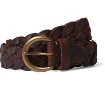 3.5cm Distressed Leather Woven Belt