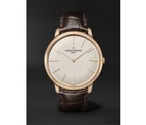 Patrimony Hand-Wound 40mm 18-Karat Pink Gold and Alligator Watch, Ref. No. 81180/000R-9159