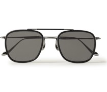 Aviator-Style Ruthenium and Acetate Sunglasses