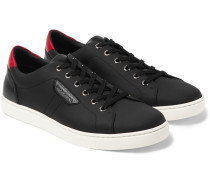 Rubberised Textured-leather Sneakers