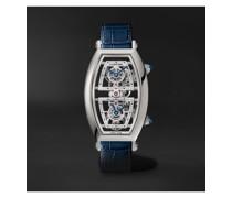 Tonneau XL Dual Time Limited Edition Hand-Wound Skeleton 29.8mm Platinum and Alligator Watch, Ref. No. WHTN0006