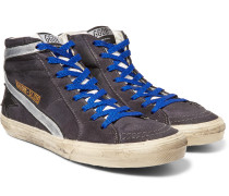Distressed Suede And Metallic Leather High-top Sneakers