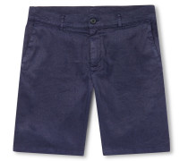 Slim-Fit Stretch Slub Linen and Cotton-Blend Twill Shorts
