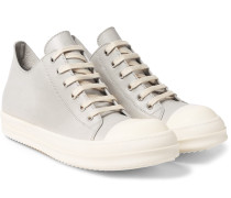 Rubber-trimmed Leather Sneakers