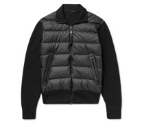 Leather-Trimmed Ribbed Wool and Quilted Shell Down Jacket