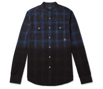 Slim-Fit Grandad-Collar Distressed Dip-Dyed Checked Cotton-Flannel Shirt