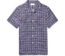 Camp-Collar Checked Linen Shirt