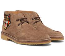 Appliquéd Suede Desert Boots