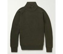 Ribbed Merino Wool Mock-Neck Sweater