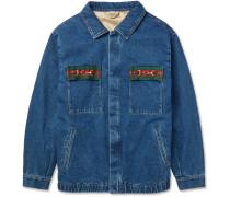 Oversized Embellished Webbing-Trimmed Denim Jacket