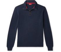 Slim-Fit Suede Elbow-Patch Cashmere Half-Zip Sweater