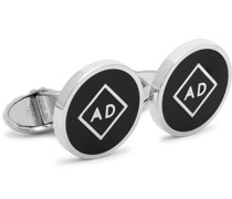 Rhodium-Plated and Enamel Cufflinks