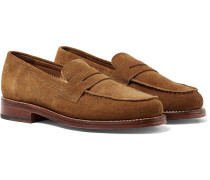 Peter Brushed-Suede Penny Loafers