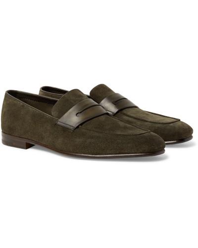 Ermenegildo Zegna Herren Asola Leather-trimmed Suede Penny Loafers