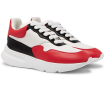 Exaggerated-sole Leather Sneakers - Red