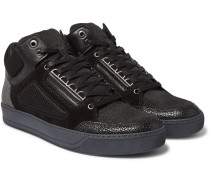 Panelled Leather, Suede And Mesh High-top Sneakers
