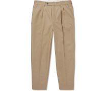 Slim-Fit Tapered Pleated Cotton-Twill Trousers
