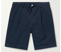 Pleated Striped Cotton-Seersucker Drawstring Shorts