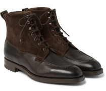 Nevis Shearling-lined Cross-grain Leather Boots