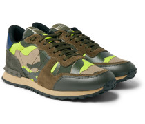Valentino Garavani Rockrunner Camouflage-Print Canvas, Suede and Leather Sneakers