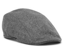Leather-trimmed Mélange Wool Flat Cap