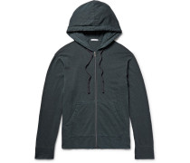 Garment-dyed Loopback Supima Cotton-jersey Zip-up Hoodie