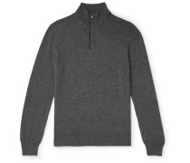 Suede-Trimmed Mélange Cashmere Half-Zip Sweater