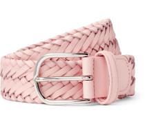 3.5cm Light-pink Woven Leather Belt