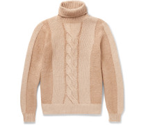 Cable-knit Camel Hair Rollneck Sweater