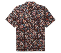 Camp-Collar Floral-Print Cotton-Poplin Shirt